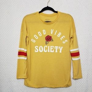 """Good Vibes Society""Gold/Mustard L/S Top*Sz XS*B"